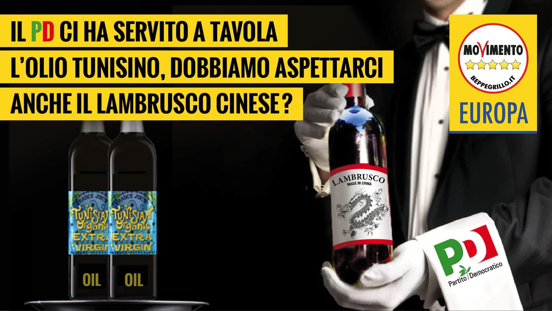 Marco Zullo M5S Europa lambrusco olio tunisino