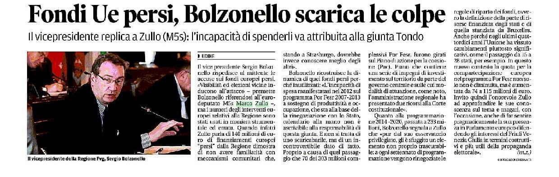 Marco Zullo M5S Europa fondi europei bolzonello