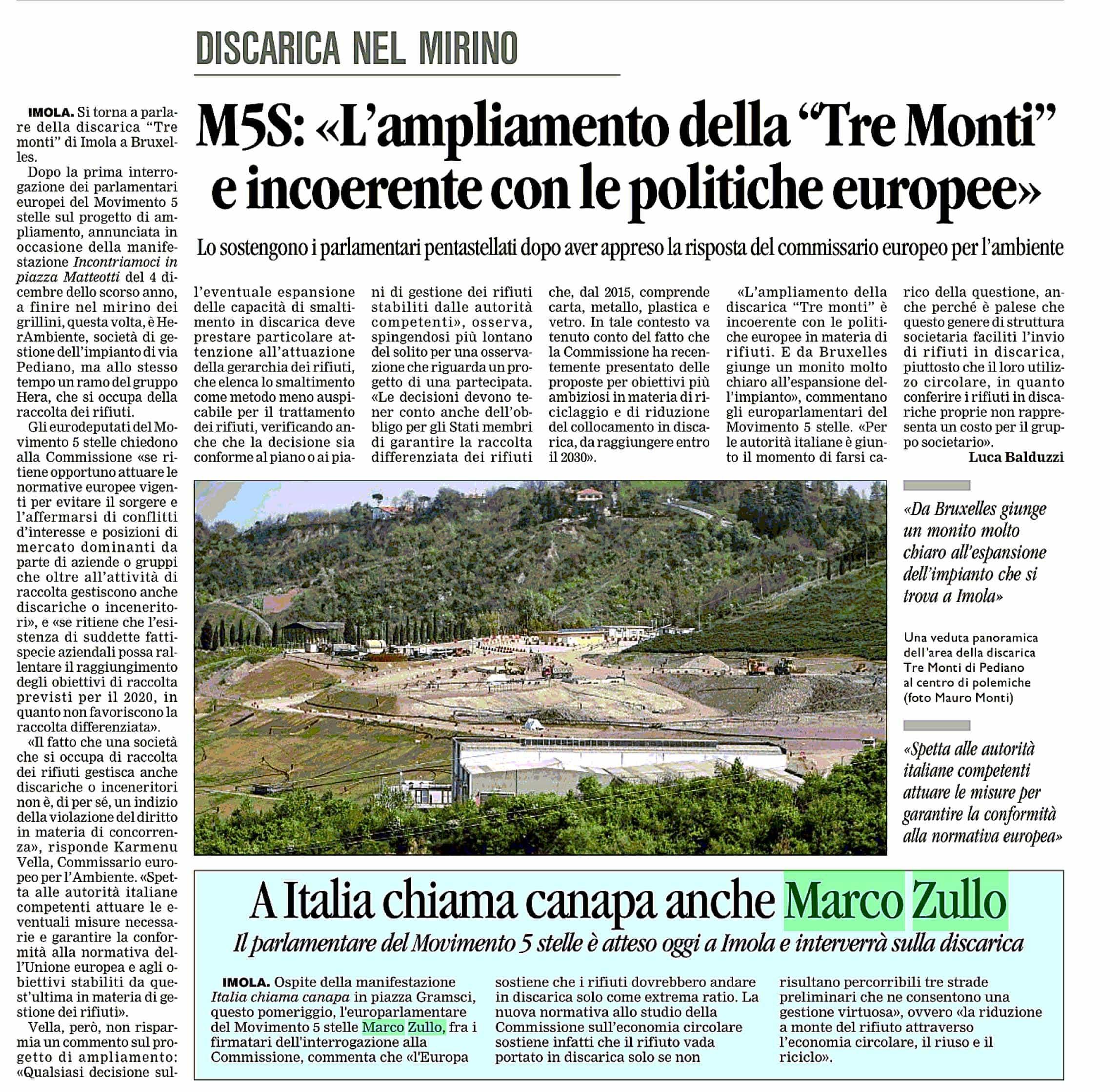 Marco Zullo M5S Europa discarica tre monti imola commissione ue europa corriere romagna