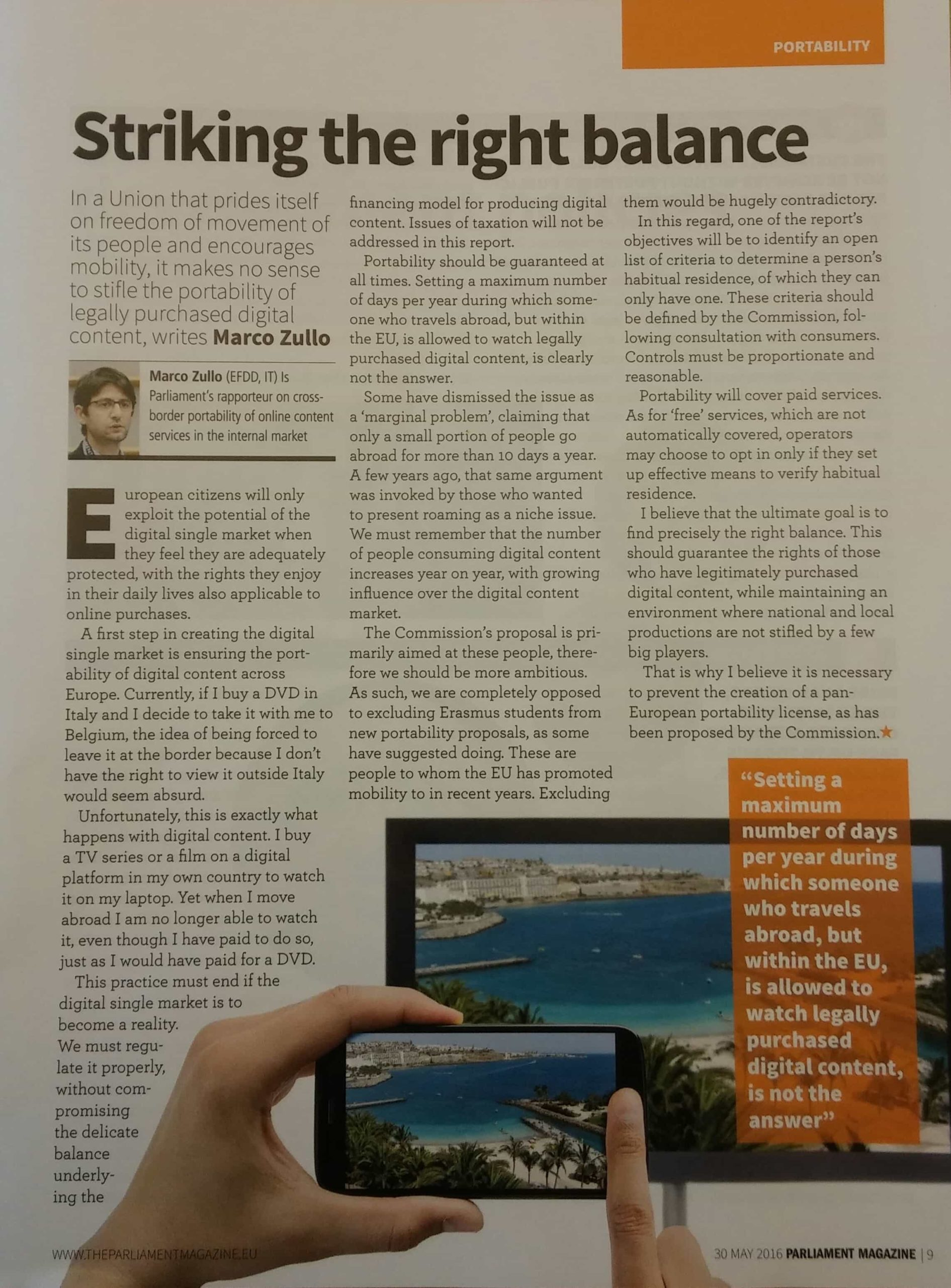 Marco Zullo M5S Europa portabilità digitale