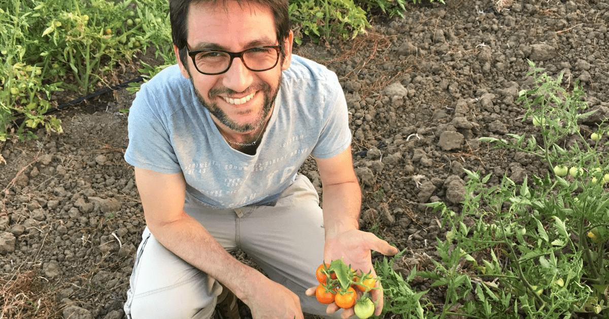 Marco Zullo in un campo biologico
